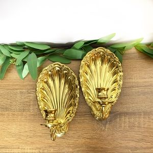 Set of 2 Shell Brass Wall Sconce Candle Holders
